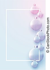 Vertical frame with matt light blue and pink christmas balls hanging on threads. Space for text. Vector festive illustration.
