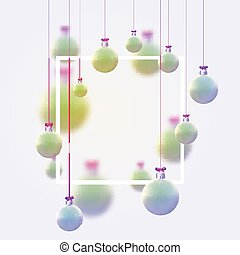 Matt light green and blue christmas balls hanging on pink ribbons with bow. Space for text. Vector festive illustration.