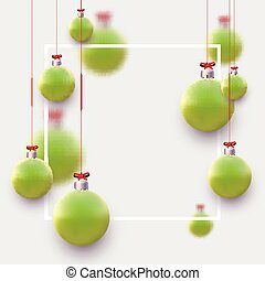 Matt light green christmas balls hanging on red ribbons with bow. Space for text. Vector festive illustration.