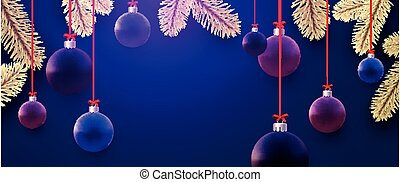 Matt blue, purple, violet, pink christmas balls hanging on red ribbons with bow. Golden spruce branches. Dark blue background. Vector festive illustration.