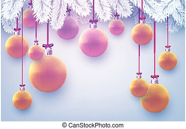 Matt pink and orange christmas balls hanging on ribbons with bow. White spruce branches. Light blue background. Vector festive illustration.