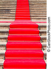 matta, väg, trappa, röd