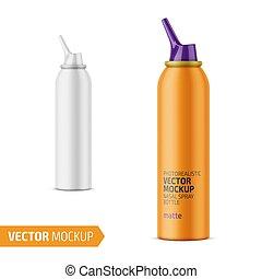 Matte aluminum nasal spray bottle with label. - Matte...