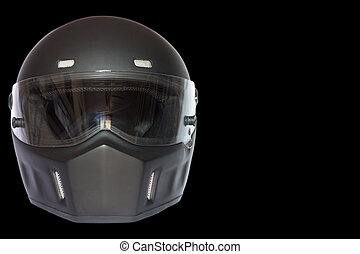 matte black helmet isolated - vintage matte black full face...