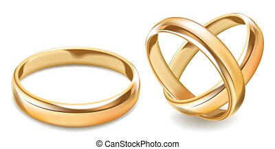 Matted shiny gold wedding rings isolated realistic vector illustration