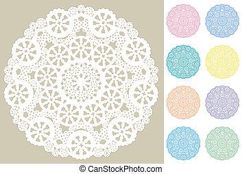 matten, plek, kant, dekservet, snowflakes