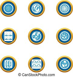 Matter icons set, flat style - Matter icons set. Flat set of...