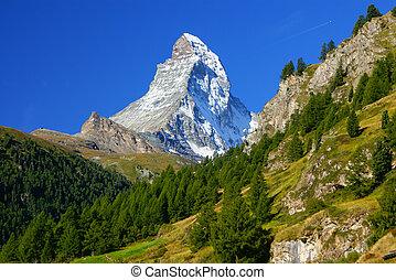 Matterhorn (4478m) in the Pennine Alps from Zermatt,...