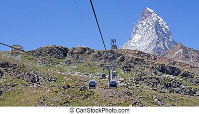 matterhorn, cablecar, alpes, emblema, suizo, iconic