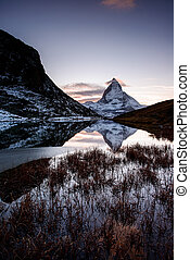 matterhorn, de, riffelsee, lago montanha