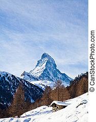 matterhorn, montagna, di, zermatt, switzerland., inverno,...