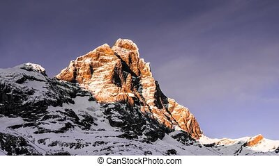 Matterhorn, time lapse at sunset