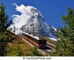 matterhorn, train, chemin fer
