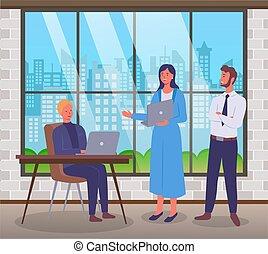 matters., üzleti találkozás, munka hivatal, fejteget, ellenszolgáltatás, munkás, betűk, kilép
