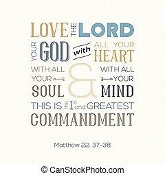 matthew, impressão, citação, amor, alma, ou, deus, tudo, aproximadamente, bíblia, coração, ziguezague, fundo, uso, cartaz, tipografia, mente