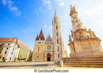 Matthias Church and Holy Trinity Column in Budapest, Hungary