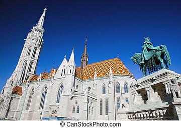 Matthias Church and statue of Stephen I. Budapest, Hungary