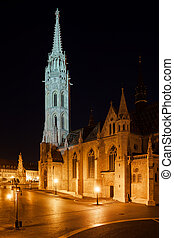 Matthias Church at Night in Budapest