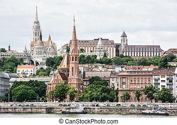 Matthias church, Fishermans bastion and Calvinist church in Budapest, Hungary