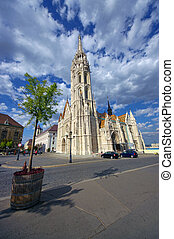 Matthias Church in Budapest city, Hungary. wide view