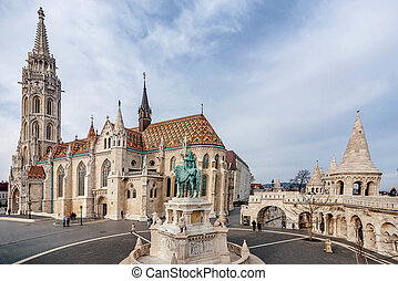 Matthias Church located in front of the Fisherman's Bastion in Budapest, Hungary