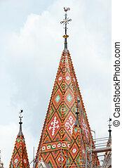 Matthias Church roof (Budapest, Hungary) - Mosaic on...