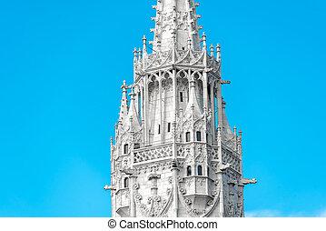 Matthias Church spire close-up. Budapest, Hungary.
