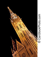 Matthias Church tower by night, Budapest, Hungary