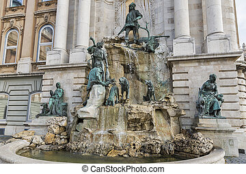 Matthias Fountain in northwest courtyard of Royal Palace. Budapest, Hungary.