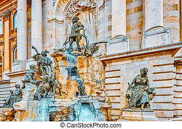 Matthias Fountain-is a monumental fountain group in the western forecourt of Buda Castle, Budapest. Hungary