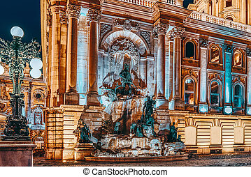 Matthias Fountain-is a monumental fountain group in the western forecourt of Buda Castle, Budapest. Hungary.