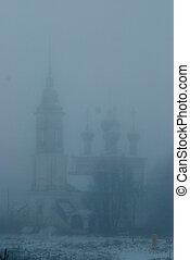 mattina, nebbia, città