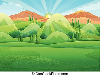 mattina, scena, alba, natura