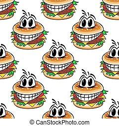 matto, cibo, modello, seamless, digiuno, cheeseburgers