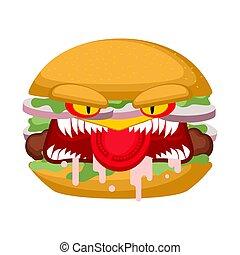 matto, digiuno, burger., pazzo, arrabbiato, cibo., fastfood, burbero, pericoloso, male, teeth., hamburger.