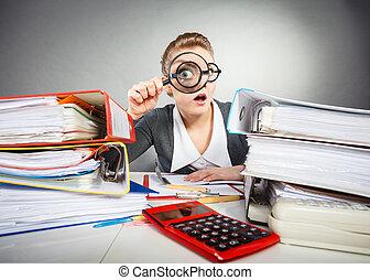 matto, signora, desk., ufficio