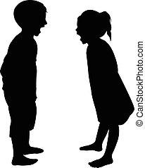 matto, silhouette, bambini