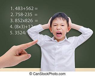 matto, studyin, prendere, calcolo, giovane, asiatico, studente, matematica