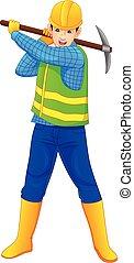 mattock, εργάτης , κράτημα , δομή