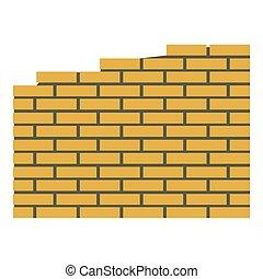 mattone, appartamento, icona, stile, parete