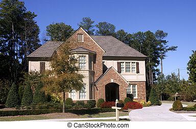 mattone, e, stucco, casa, con, due storia, finestra baia