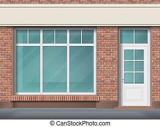mattone, immagazzinare parte anteriore, con, grande, trasparente, finestra
