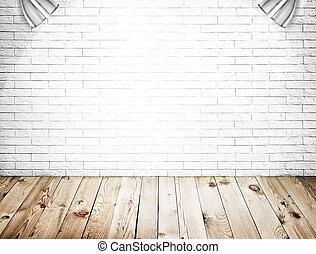 mattone, interno, fondo, legno, parete, pavimento, stanza, bianco