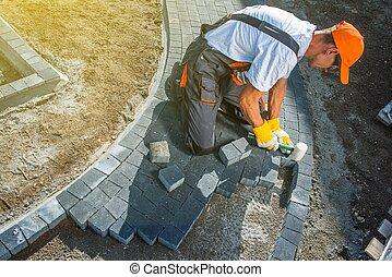 mattone, pavimentazione, lavori in corso