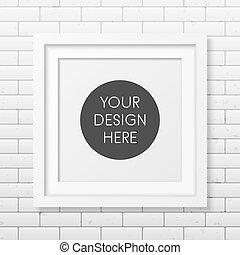 mattone, quadrato, realistico, fondo, struttura parete, bianco