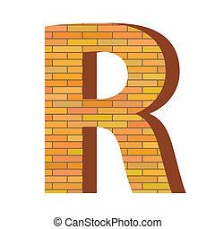 mattone, r, lettera