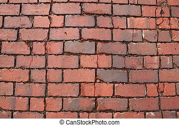 mattone rosso, strada, fondo