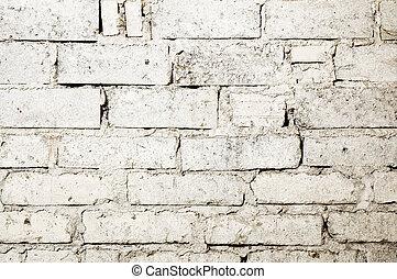 mattone, sprecato, fondo, parete, bianco