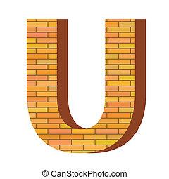 mattone, u, lettera