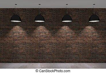mattone, vecchio, parete, pavimento concreto